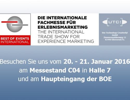 UTC zum Jahresauftakt auf der BOE 2016 in Dortmund