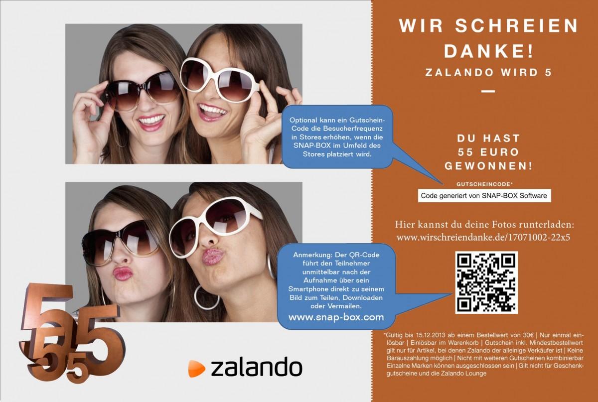 Fotobox Gutschein-Modul am Beispiel von Zalando