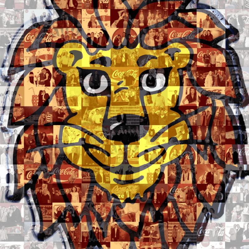 mosaic coca cola löwe